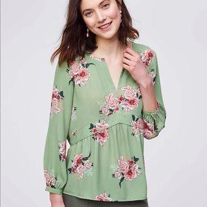 Peplum Blouse- Green with Pink Bouquet